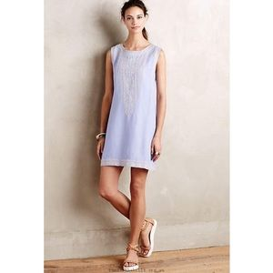 New Holding Horses Chambray Embroidered Dress Sz S